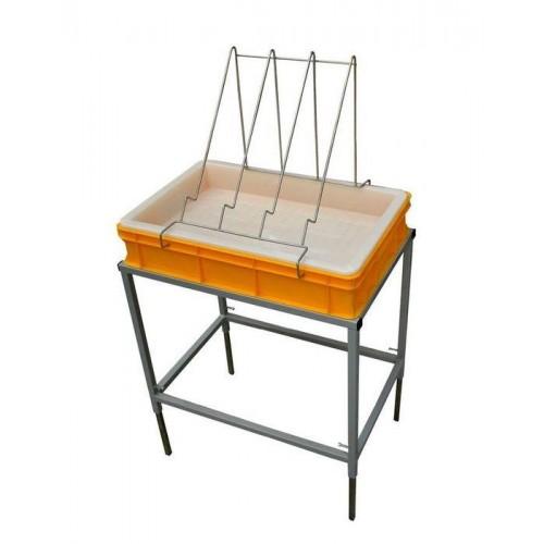Стіл для розпечатування з ванночкою пластиковою 100 мм, сито пластик.