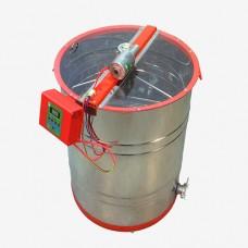 Медогонка з поворотом касет 3-х рамкова нержавіюча РКН з обручем кришкою і підставкою (електродвигун