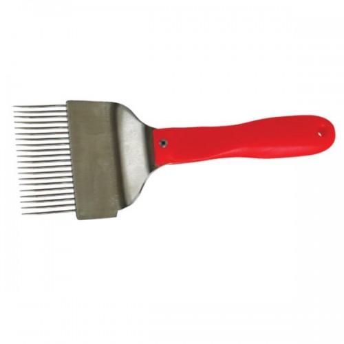 Вилка из нержавеющей стали для распечатывания медовых сотов (иглы с перегибом), ручка пластмассовая