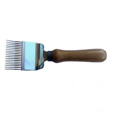 Вилка для розпечатування медових щільників 17голок (голки з перегином), ручка дерев'яна
