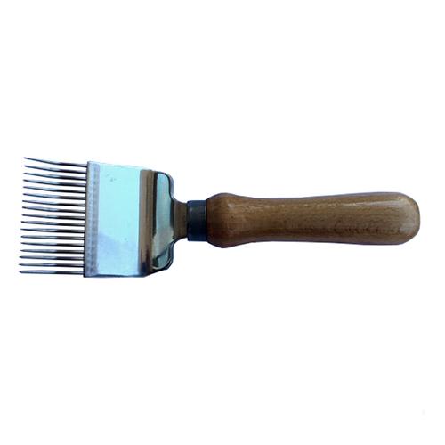 Вилка для распечатывания медовых сотов 17 игл (иглы с перегибом), ручка деревянная