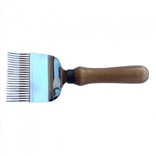 Вилка для распечатывания медовых сотов 21 игла (иглы с перегибом), ручка деревянная