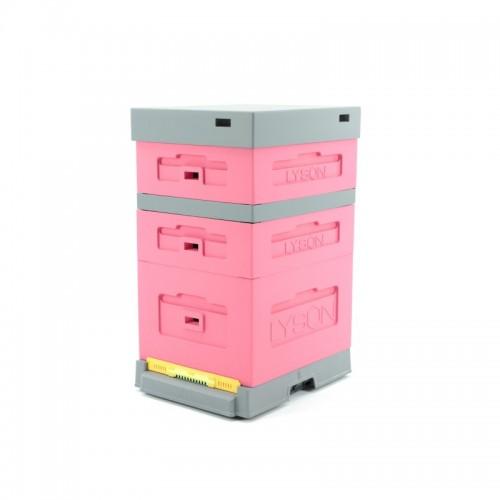 Вулик пінополістерол Дадан на 10 рамок Lyson з пластиковим дном фарбований (Рожевий)_1