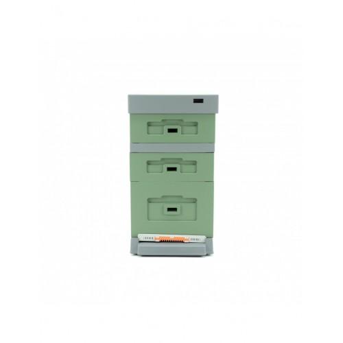 Вулик пінополістирол Дадан на 10 рамок Lyson з пластиковим дном фарбований (зелений)_1